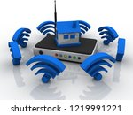 3d rendering transmitter wifi... | Shutterstock . vector #1219991221