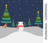 white bear with christmas  tree ... | Shutterstock .eps vector #1220032021