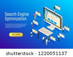 isometric seo optimization.... | Shutterstock .eps vector #1220051137