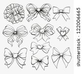 set hand drawn bows | Shutterstock .eps vector #122006665