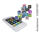 white smartphone with... | Shutterstock . vector #122007307