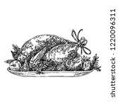 roasted turkey on platter with... | Shutterstock .eps vector #1220096311