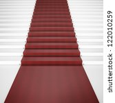 white stairs with red carpet.... | Shutterstock . vector #122010259