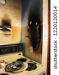 damaged walls after a kitchen...   Shutterstock . vector #1220120014
