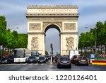 paris  france  24 may 2018  arc ... | Shutterstock . vector #1220126401