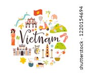 vietnam cartoon vector banner.... | Shutterstock .eps vector #1220154694