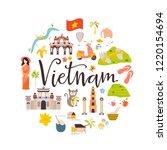 vietnam cartoon vector banner.... | Shutterstock .eps vector #1220154694