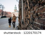 brick wall entwined with grapes ... | Shutterstock . vector #1220170174