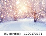winter wonderland. park covered ... | Shutterstock . vector #1220173171