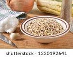 a bowl of multi colored quinoa... | Shutterstock . vector #1220192641