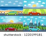 set of four illustration of car ... | Shutterstock . vector #1220199181