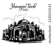 humayun tomb delhi sketch.... | Shutterstock .eps vector #1220210131
