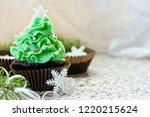 christmas tree cupcake ...   Shutterstock . vector #1220215624