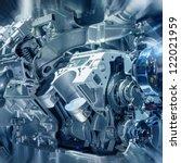 the car's engine closeup | Shutterstock . vector #122021959