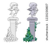 statue of cupid archer standing ... | Shutterstock .eps vector #1220230807