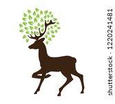 deer with green leaves  antlers ... | Shutterstock .eps vector #1220241481