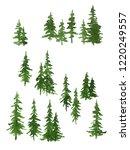 watercolor green pine trees set ... | Shutterstock . vector #1220249557