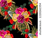 tropical seamless floral... | Shutterstock . vector #1220261554