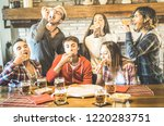 happy friends group eating... | Shutterstock . vector #1220283751