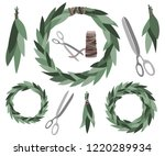vector leaf wreaths with some... | Shutterstock .eps vector #1220289934