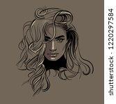woman face portrait. vector....   Shutterstock .eps vector #1220297584