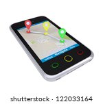 smartphone with a map marked...   Shutterstock . vector #122033164