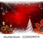 christmas red background with a ... | Shutterstock .eps vector #1220339074