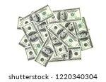 heap of 100 dollars banknotes... | Shutterstock . vector #1220340304