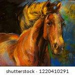 Stock photo original pastel portrait of horses 1220410291