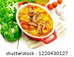 ragout of turkey meat  tomato ... | Shutterstock . vector #1220430127