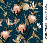 Blooming  Protea Flowers And...