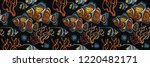 embroidery sea life  corals ... | Shutterstock .eps vector #1220482171