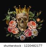 embroidery golden crown  skull... | Shutterstock .eps vector #1220482177