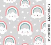 clouds rainbows and stars cute... | Shutterstock .eps vector #1220488141