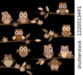 cute brown cartoon owls in the... | Shutterstock .eps vector #1220513491
