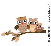 cute cartoon owls family on... | Shutterstock .eps vector #1220522977