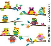 cute cartoon owls on tree branch | Shutterstock .eps vector #1220523184