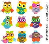 colorful cute cartoon owls set | Shutterstock .eps vector #1220523634