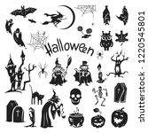 halloween icon set. simple set... | Shutterstock . vector #1220545801