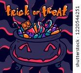 halloween trick or treat... | Shutterstock . vector #1220546251