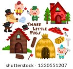the three little pigs in a... | Shutterstock .eps vector #1220551207