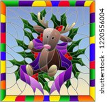 illustration in stained glass... | Shutterstock .eps vector #1220556004