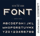font and alphabet vector  bold... | Shutterstock .eps vector #1220589877