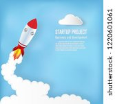 rocket launch on the clouds and ... | Shutterstock .eps vector #1220601061