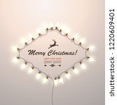 christmas glowing garland on a... | Shutterstock .eps vector #1220609401