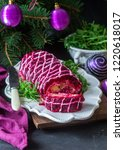Stock photo traditional russian christmas new year salad with beetroot and herring shuba 1220618017