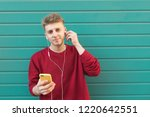 smiling pretty student standing ... | Shutterstock . vector #1220642551