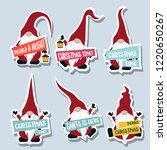 christmas stickers collection... | Shutterstock .eps vector #1220650267