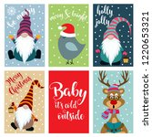 christmas card collection .... | Shutterstock .eps vector #1220653321