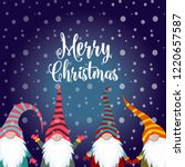 christmas card with gnomes.... | Shutterstock .eps vector #1220657587